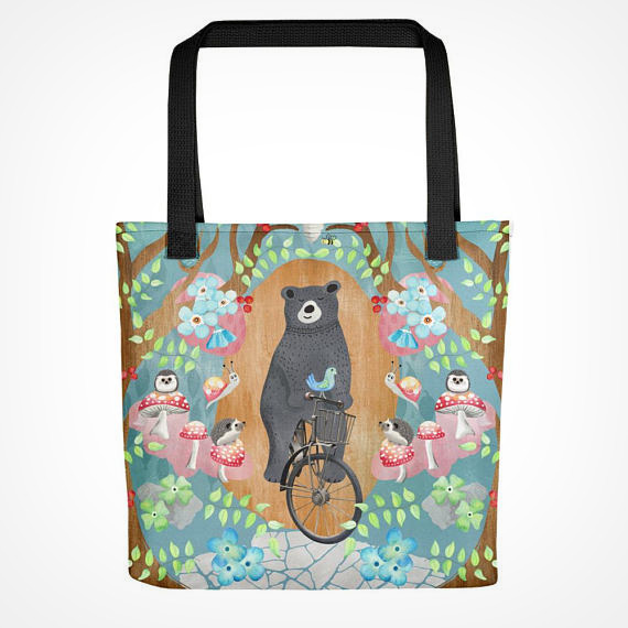 Bicycle Riding Bear Tote Bag