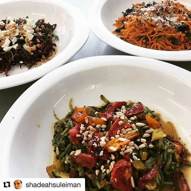 """These recipes look so delicious! Thanks for the love @shadeahsuleiman  #Repost @shadeahsuleiman with @get_repost ・・・ For a side or main dish, veggie noodles are a fun and easy way to jazz up old standbys or try something all-original. At today's Fresh & Local demo, we dished out this winning trio using Great Meadow Farm spiralized zucchini, beets, and sweet potatoes—  Pesto """"zoodles"""" with caramelized shallots, roasted fingerling bites and heirloom tomatoes - made with Stillman's frozen pesto and @fivecollegefarms hothouse tomatoes  Roasted beet noodle salad dressed with @rbwhitefrench dressing, Hancock Farm farmer's cheese, and our spicy microgreens garnished with roasted, salted @qsnuts walnuts  Sweet potato noodles in a brown butter sauce with spinach, @mycoterrafarm chestnut mushrooms, local asiago cheese, and Q's maple bourbon pecans  #bpmkitchen #bostonpublicmarket #stillmansfarm #stilllifefarm #qsnuts #ritabrownwhitefrench #mycoterrafarm"""