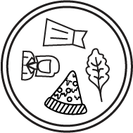 A closer look at my logo. The icon includes some of the things I'm passionate about writing on. There's a pizza, a girl, a dress, and a leaf.
