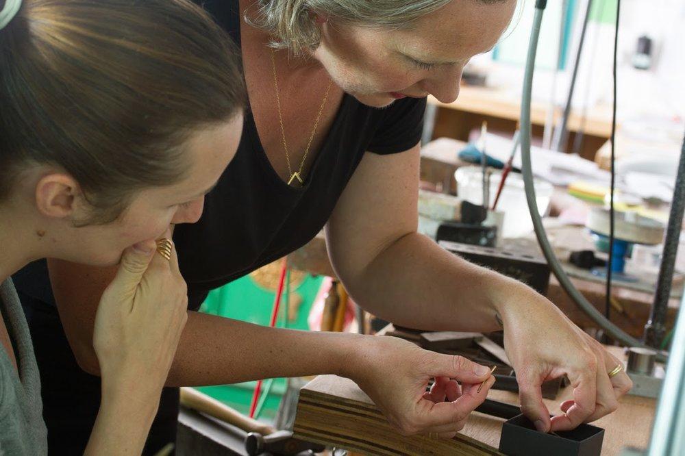 Annie & Susie working together at their studio *