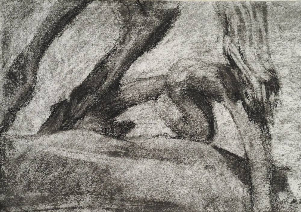 Detail sketch by Erin of Peter the Great monument.Charcoal on paper.