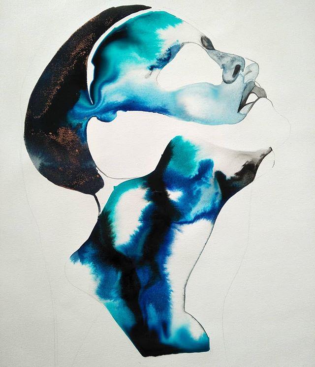 Work in progress... Painting some new pieces for my next event @theotherartfair  22-25 March Australian technology park . . . . . #theotherartfairsyd  #sydneyart #sydneyartist #emergingartist #contemporaryart #originalartwork #australiaart #visualartist #contemporaryartist #modernartist #pigments #modernart #artworld #ink #closelook #paintart #artbyer #buyart  #artcollectors #duality #figurativepainting #shadow #psychology  #canvaspainting