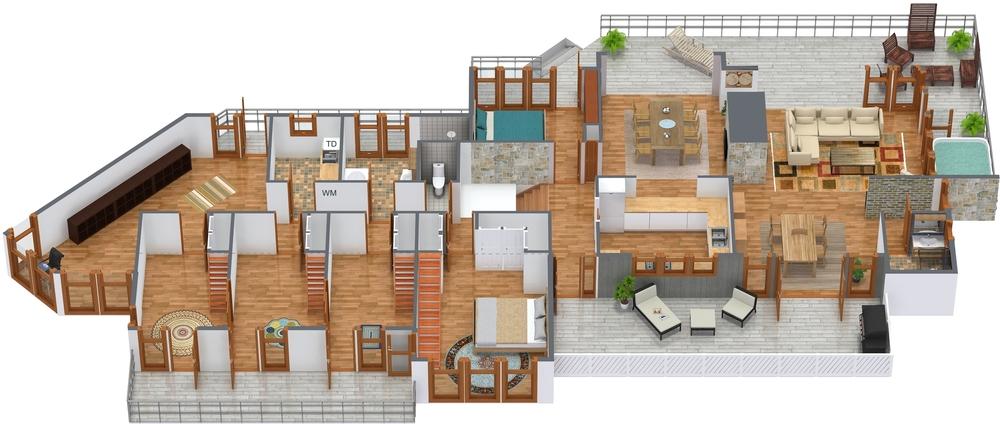 3D Floor Plan  45 Degrees