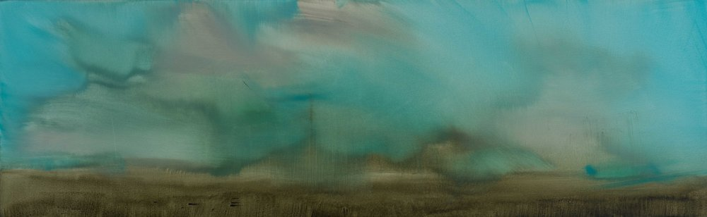 A Very Fast Landscape Oil on canvas 25 x 80 cm