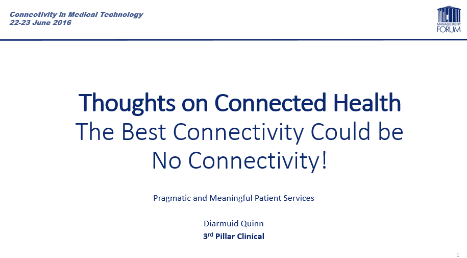 "Note the subtitle: "" Pragmatic and Meaningful Patient Services"" . Who could argue with that?"