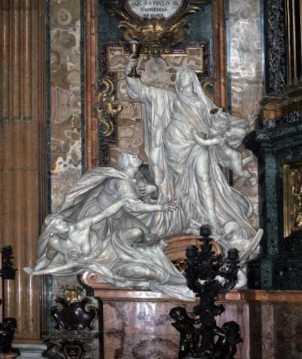 Figure 12. Jean-Baptiste Théodon, The Triumph of Faith over Idolatry, 1695–99. Chapel of St. Ignatius, Il Gesù, Rome.
