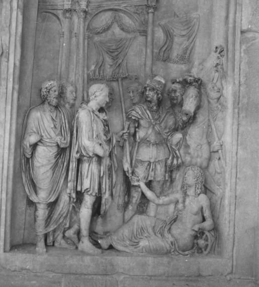 Fig. 8  Adventus  scene from the Arch of Constantine. featuring a reclining personification of the Via Flaminia.