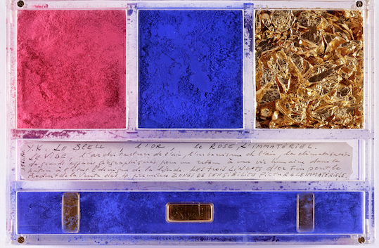 Ex-voto dedicated to Santa Rita of Cascia by Yves Klein  , 1961   Dry pigment, gold leaves, gold bars and manuscript in a plexiglas box, 14 x 21 x 3.2 cm   © Yves Klein / ADAGP, Paris, 2014