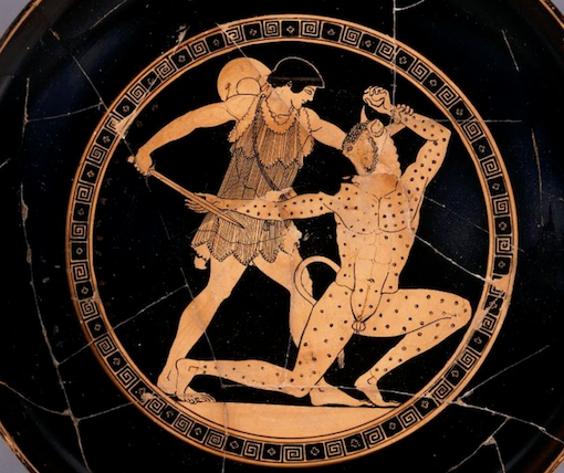 Figure 4. Red-figure cup. Theseus and the Minotaur, c. 485-480BCE. British Museum, London.
