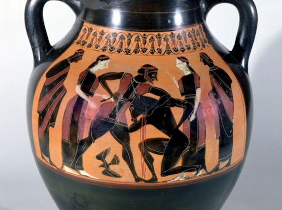 Figure 5. Theseus and the Minotaur. Black-figure Attic amphora, c. 540 BCE. Louvre, Paris.