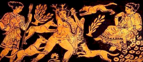 Figure 9. Detail of a red-figure nestoris showing the death of Actaeon, 400-380 BCE. British Museum, London.