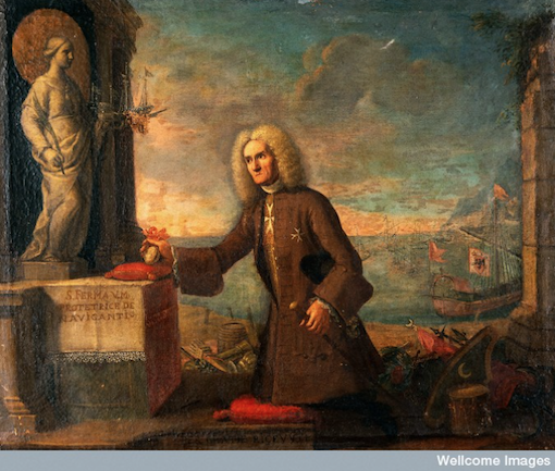 A man presenting a votive offering to the protector of sailors.