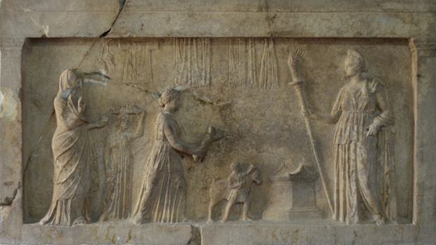Fig. 2: Marble relief to Artemis from Ekhinos in Phthiotis. From the sanctuary of Artemis Lochia, Archaeological Museum of Lamia, inv. no. BE 1041. 121 × 68cm. End of fourth – beginning of third century BCE.