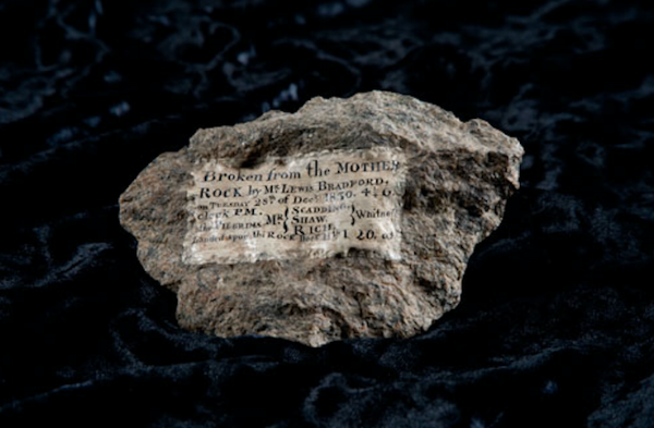 Fig. 6: Piece of Plymouth Rock, removed by Lewis Bradford in 1830. 10.8 × 6.4 × 2.5 cm. Division of Political History, National Museum of American History, Smithsonian Institution, Accession Number 52309.