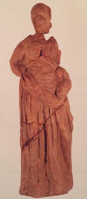 Figure 3.1 - Broken figurine of the Tanagra type from the excavations at Narce. Early first century BCE.  Photo courtesy of Jacopo Tabolli.