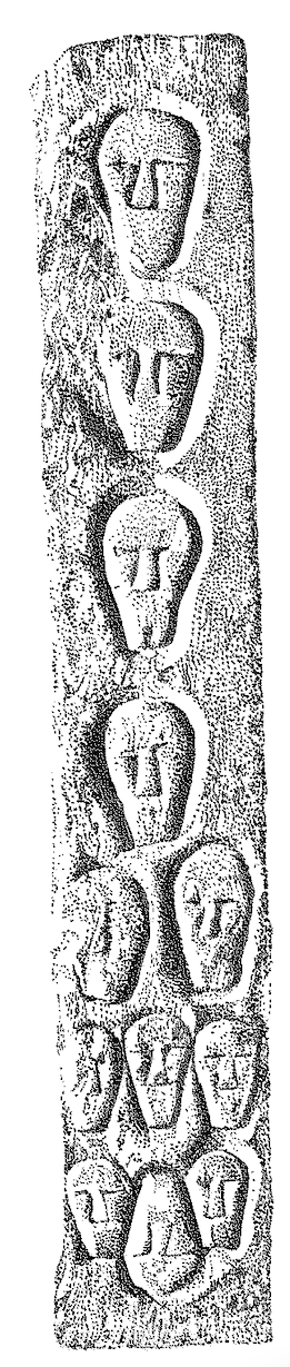 Figure 3.5 Drawing of decorated side of head pillar from Entremont. Ca. 500 BCE (date contested). Ht. 2.58 m.  Drawing by Libby Mulqueeny, used with the kind permission of Ian Armit.