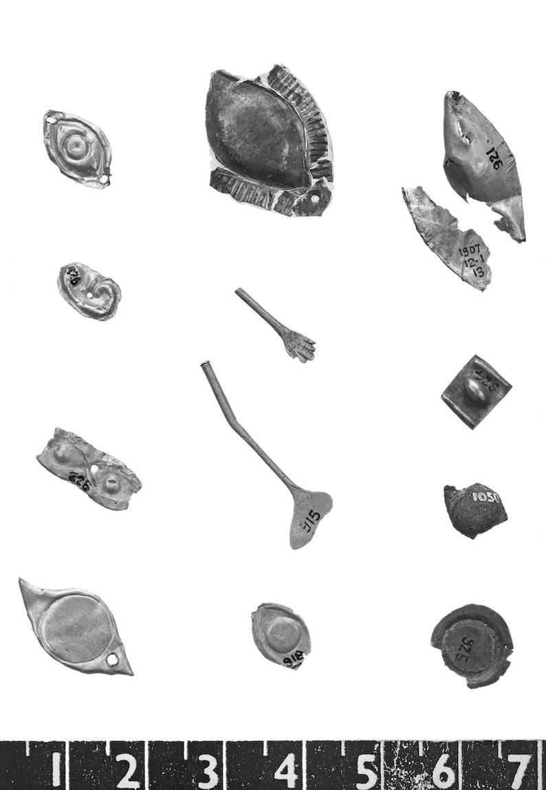 Figure 3.7 Miniature body parts from the sanctuary of Artemis at Ephesos. Ca. 700 bce. London, British Museum 1907,1201.22.