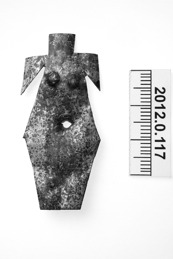 Figure 3.6 Bronze plaque showing female trunk, from the Seine sanctuary. 5.1 × 2.2 cm. Dijon Archaeological Museum 2012.0.117.  Photo by François Perrodin, used with kind permission of Dijon Archaeological Museum.