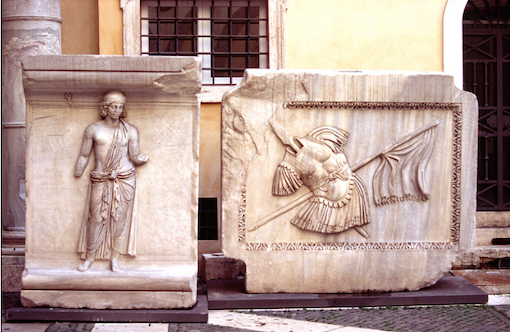 13. 'Achaea' and 'Trophy' reliefs from the Hadrianeum, c. 145 CE. Rome: Capitoline Museums. Photo J. Hughes.