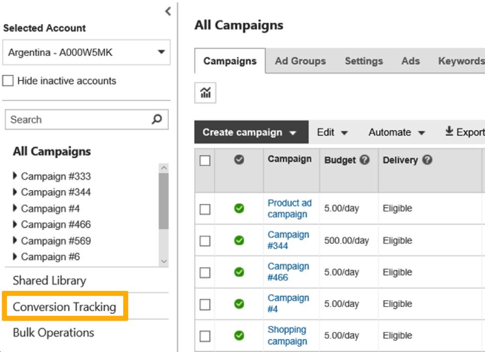 Create Bing UET Tag