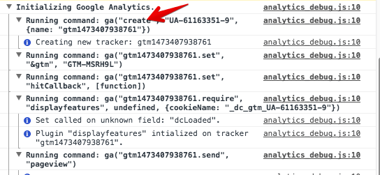 track events using GA debugger