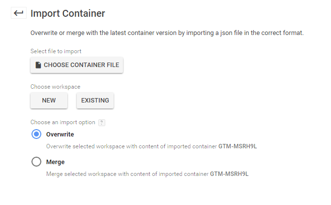 import container options