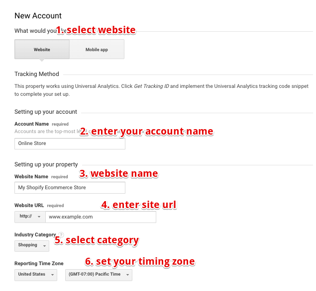 google analytics signup screen