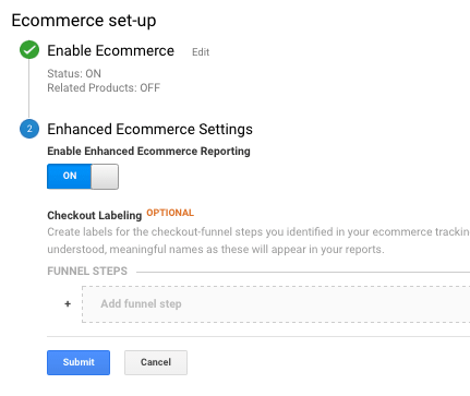 enable ecommerce tracking