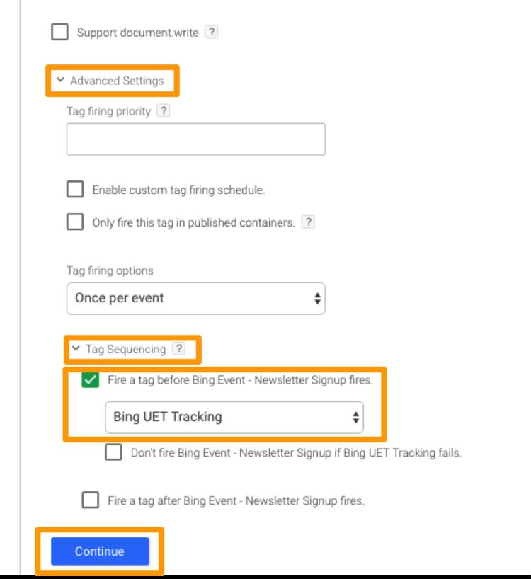 UET tracking advanced settings