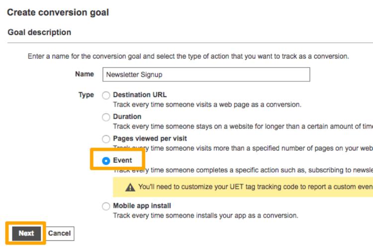 create conversion goal