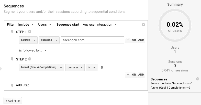 google analytics sequential segments