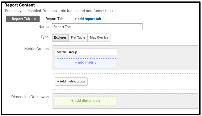 setting up custom reports