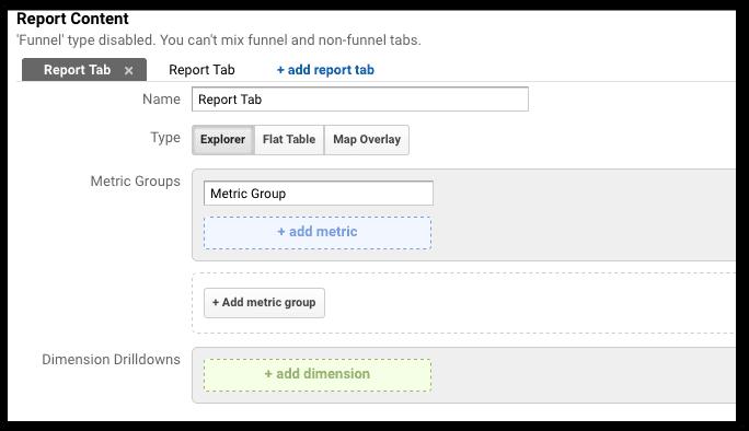 setting up custom reports