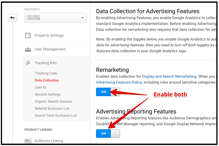 enable remarketing & advertising features