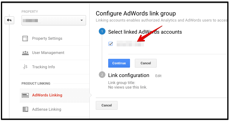 select linked adwords account