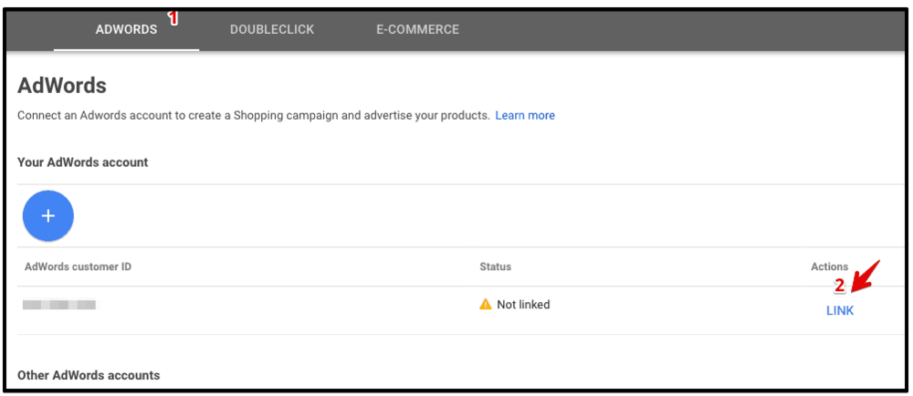 select adwords account