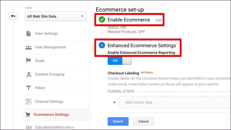 enable ecommerce analytics