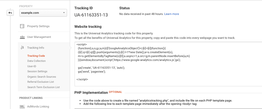 copy analytics tracking code