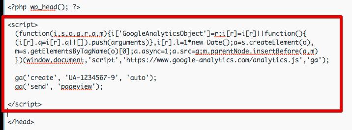 paste code above </head>