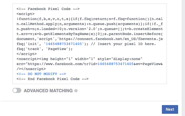 facebook tracking pixel code