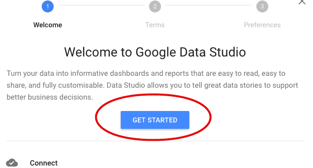 data studio welcome message