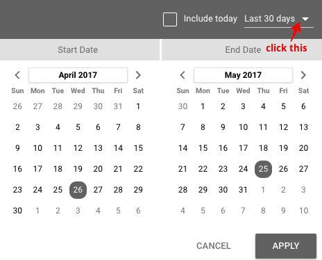 set default date range