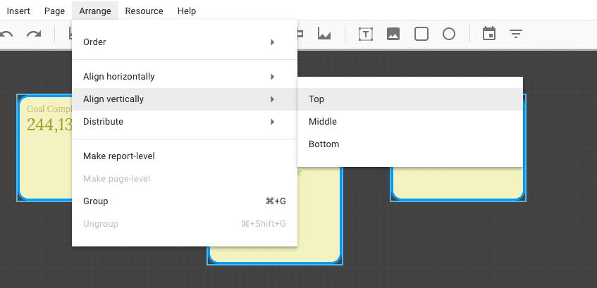 align multiple reports