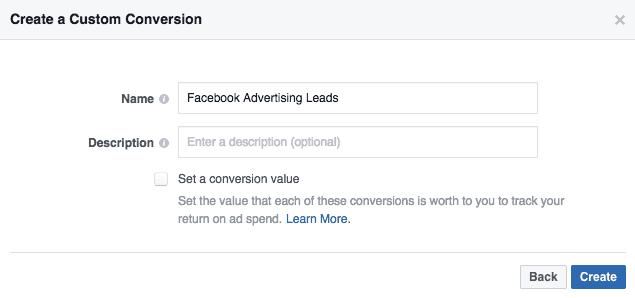 facebook conversion name