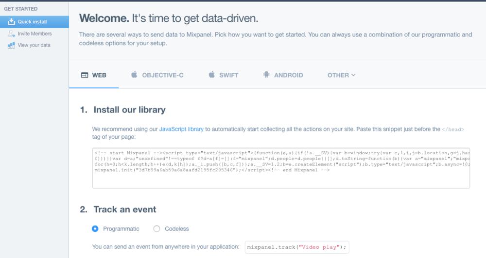 mixpanel tracking code