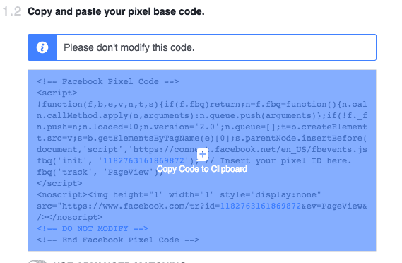 copy facebook pixel code
