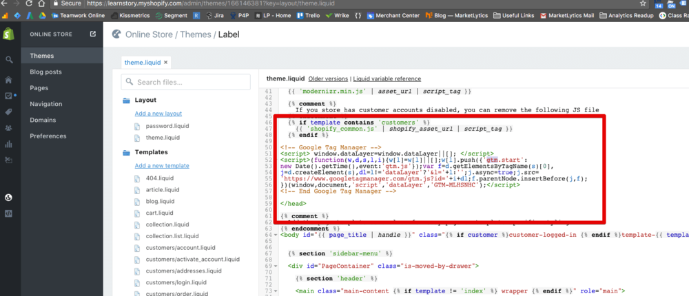 add google tag manager code in theme.liquid file
