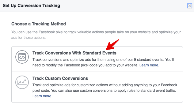 track facebook pixel standard events