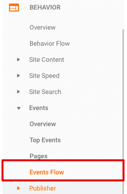 accessing google analytics events flow