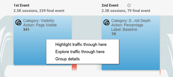 highlight traffic in events flow